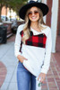 Red - Buffalo Plaid Asymmetrical Pullover Front View