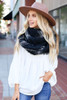 Black - Oversized Plaid Knit Scarf Circle View