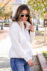 White - Quarter Zip Sherpa Pullover Side View