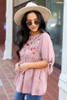 Blush - Embroidered Tie Sleeve Babydoll Blouse Side View