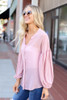 Blush - Chiffon Button Down Top Side View
