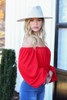Dress Up Model wearing Red Off the shoulder Smocked Waist Blouse Side View