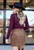 Dress Up Model wearing Brown Button Front Corduroy Mini Skirt Back View