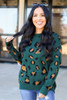 Green - Leopard Print Luxe Knit Sweater Untucked