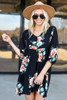 Black - Floral Print Babydoll Dress