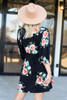 Black - Floral Print Babydoll Dress Back View