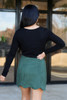 Dress Up Model wearing Olive Scalloped Hem Faux Suede Mini Skirt Back View
