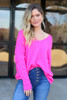 Neon Pink - Slouchy V-Neck Sweater Tucked In