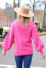 Pink - Balloon Sleeve Knit Sweater Back View