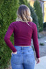 Model from Dress Up wearing the Burgundy Ribbed Crop Top Back View