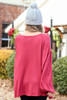Rust - Waffle Knit Balloon Sleeve Top Back View