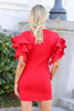 Model from Dress Up wearing the Ruffle Sleeve Sweater Dress in Red Back View