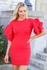 Red - Ruffle Sleeve Sweater Dress from Dress Up