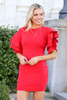 Model from Dress Up wearing the Ruffle Sleeve Sweater Dress in Red Front View