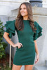 Model from Dress Up wearing the Ruffle Sleeve Sweater Dress in Olive Front View