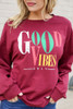 Burgundy - Good Vibes Only Vintage Graphic Pullover
