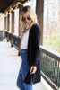 Black - Brushed Knit Longline Cardigan from Dress Up Side View