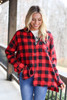 Model from Dress Up wearing the Red Buffalo Plaid Oversized Button Up Top with graphic tee Front View