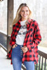 Red - Buffalo Plaid Oversized Button Up Top from Dress Up