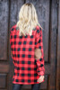 Model wearing the Red Buffalo Plaid Oversized Button Up Top with Faux Leather Leggings from Dress Up Back Front View