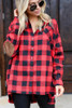 Red - Close Up on Model wearing the Red Buffalo Plaid Oversized Button Up Top from Dress Up
