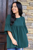 Green - Dress Up model wearing the Ruffle Sleeve Babydoll Blouse