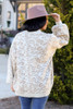 Model wearing the Leopard Brushed Knit Oversized Sweater with Wide Brim Hat and distressed jeans from Dress Up Back View