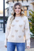 Taupe - Eyelash Knit Heart Sweater