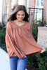 Rust - Balloon Sleeve Babydoll Top from Dress Up