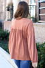 Balloon Sleeve Babydoll Top in Rust Back View