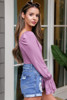 Flounce Sleeve Top In Lilac Side View