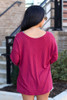 Ribbed Knit Top in Burgundy Back View