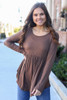 Brown - Soft Knit Babydoll Top Front View
