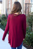 Soft Knit Babydoll Top in Burgundy Back View