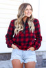 Red - Buffalo Plaid Sherpa Quarter Zip Pullover from Dress Up