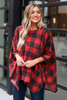 Red - Buffalo Plaid Brushed Knit Oversized Top