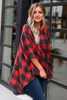 Red - Buffalo Plaid Brushed Knit Oversized Top from Dress Up