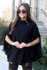 Black - Brushed Knit Cowl Neck Oversized Poncho from Dress Up in Georgia