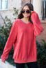 Coral - Oversized Fuzzy Knit Pullover