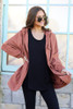 Model wearing the Hooded Utility Jacket in Mauve with Black tank top and black skinny jeans from Dress Up Front View