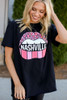 Model wearing the Black Nashville Graphic Tee in Large with leggings from Dress Up Front View