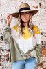 Olive - Model wearing the Oversized Color Block Tee and wide brim sun hat from Dress Up