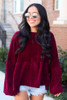 Burgundy - Velour Knit Oversized Babydoll Top