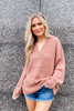 Dress Up model wearing the Oversized Knit Top in Blush