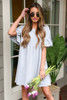 Heather Grey - French Terry Ruffle Sleeve Babydoll Dress