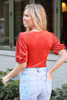 Notched Square Neck Top in Rust Back View