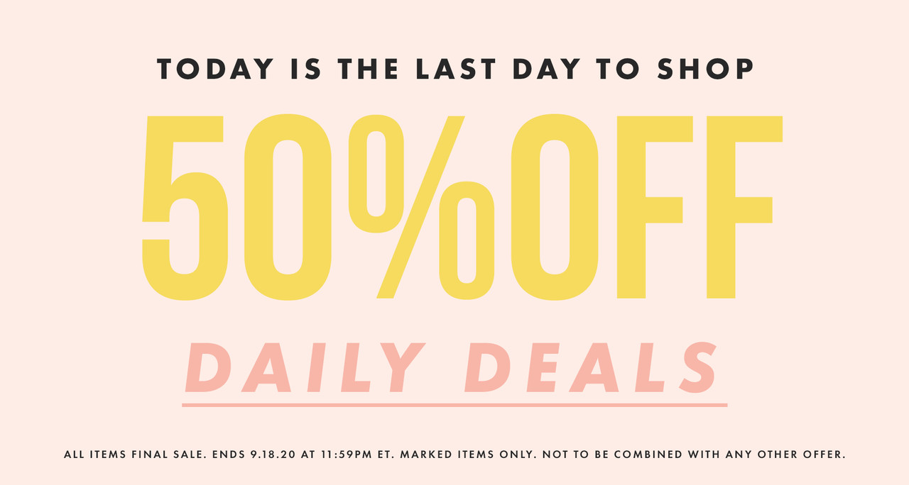 50% off daily deals now thru thrusday