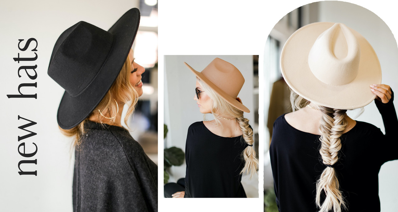 model wearing wide brim hat - comes in 3 colors