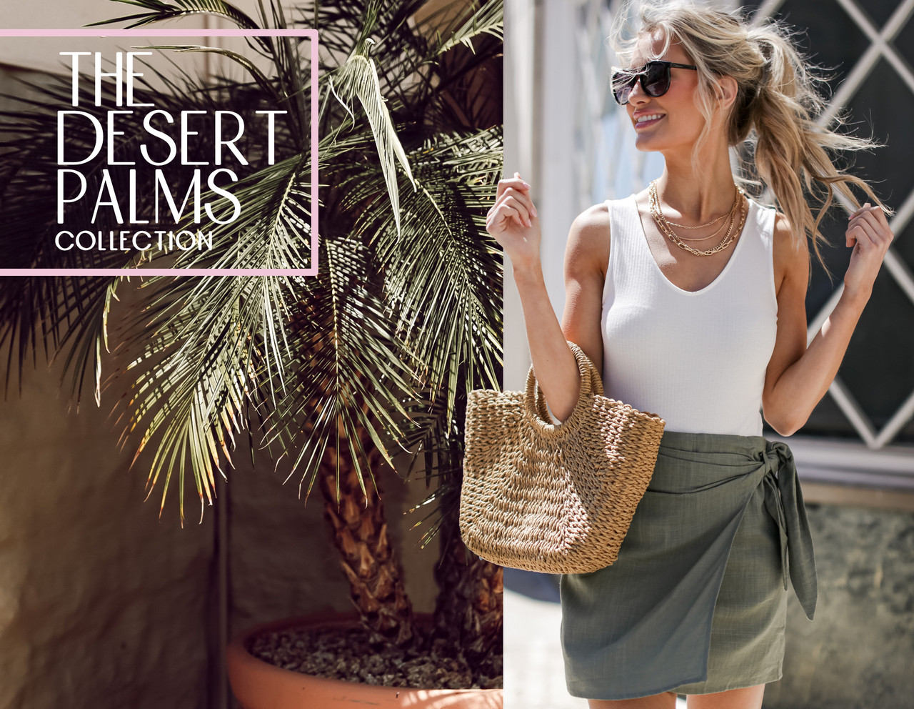 the desert palms collection - model wearing white tank and olive wrap skirt with a straw bag and sunglasses