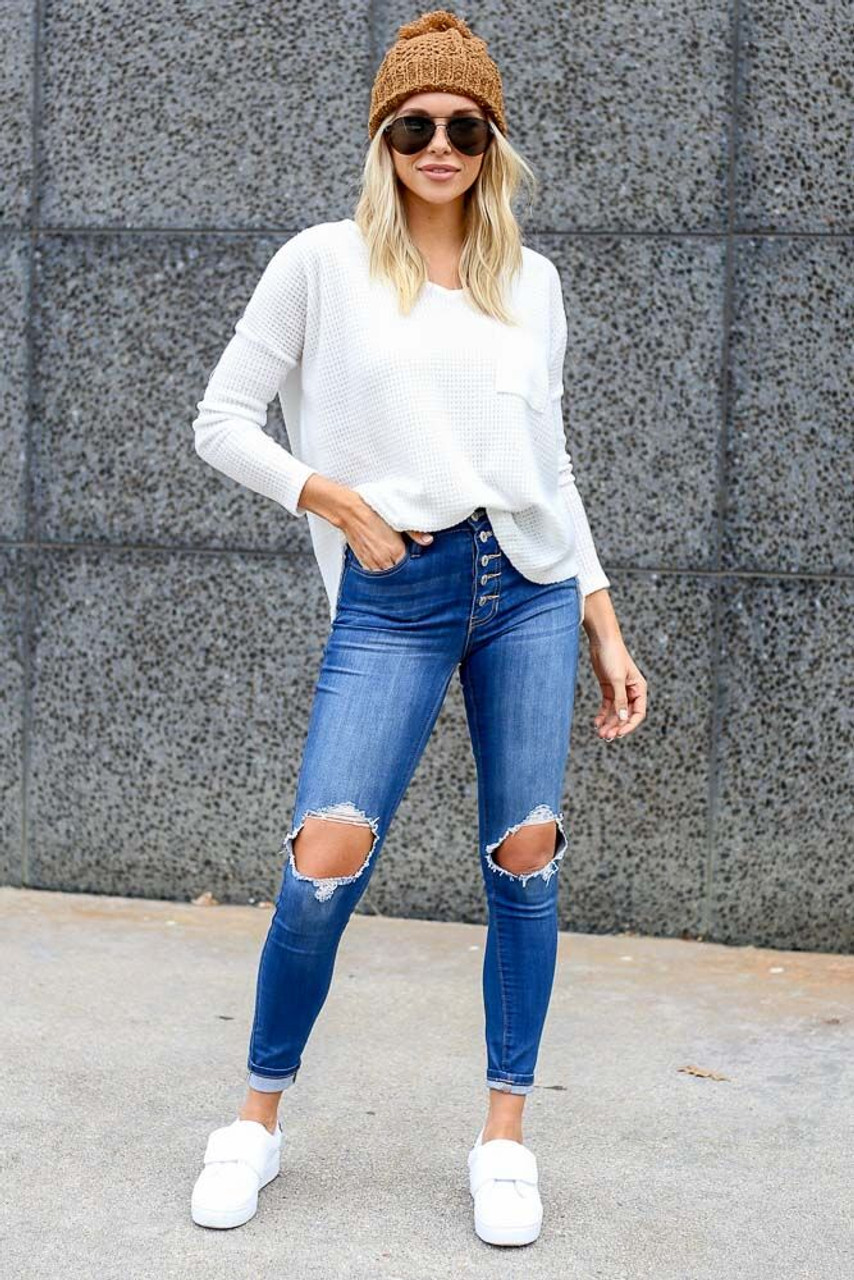 Emily Brushed Waffle Knit Pocket Top
